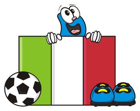 kick around: flag of Italy with soccer ball and football boots Stock Photo