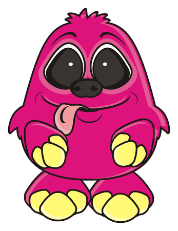 tongue out: pink monster is sticking his tongue out