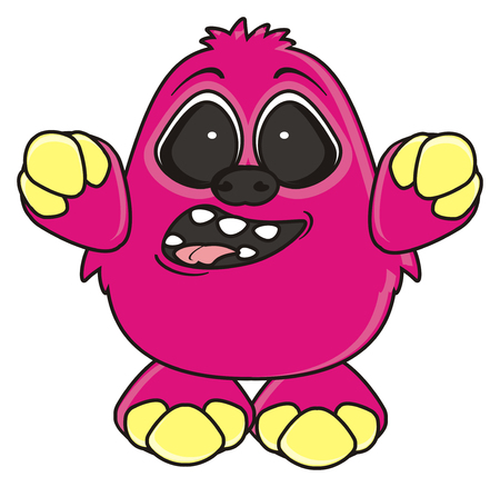 opened mouth: pink monster raised his hands and opened his mouth wide