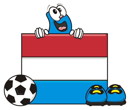 kick around: flag of the Netherlands and a number of soccer ball and cleats Stock Photo