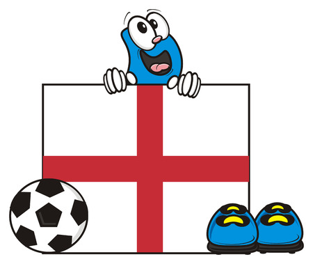 kick around: flag of the England and a number of soccer ball and cleats Stock Photo