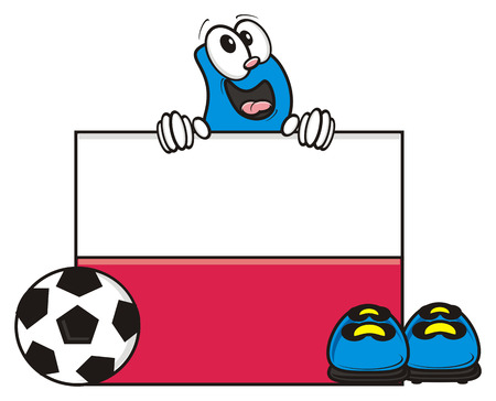 kick out: flag of the Poland and a number of soccer ball and cleats