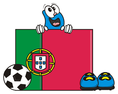 kick around: flag of the Portugal and a number of soccer ball and cleats