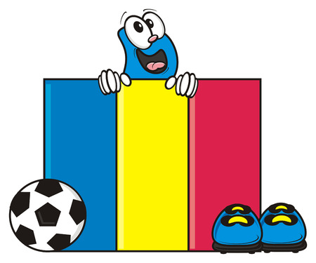 kick out: flag of the Romania and a number of soccer ball and cleats