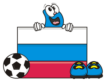 kick around: flag of the Russian federation and a number of soccer ball and cleats