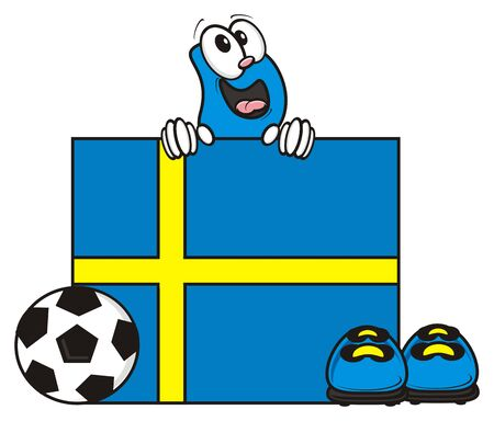 cleats: flag of the Sweden and a number of soccer ball and cleats