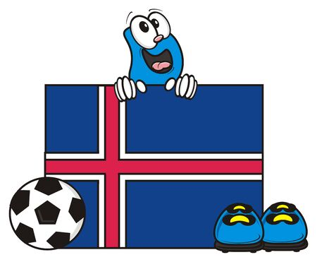 look out: flag of the Iceland and a number of soccer ball and cleats Stock Photo