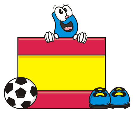 kick out: flag of the Spain a number of soccer ball and cleats