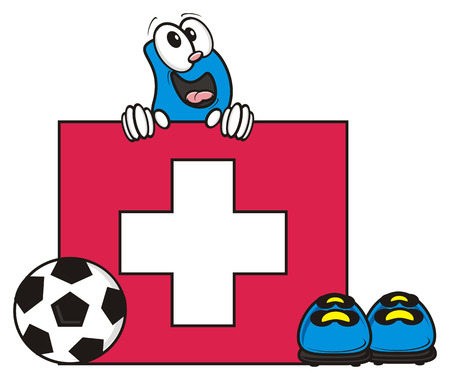 kick around: flag of the Switzerland and a number of soccer ball and cleats