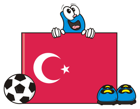 kick around: flag of the Turkey and a number of soccer ball and cleats