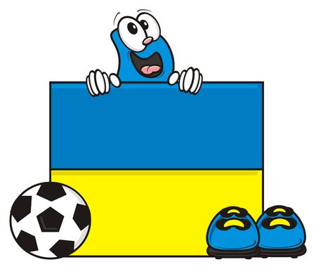 kick around: flag of the Ukraine and a number of soccer ball and cleats