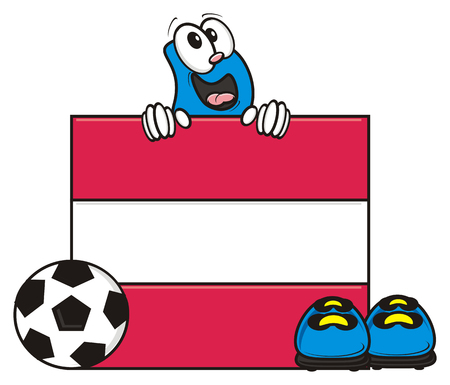 kick around: flag of the Austria and a number of soccer ball and cleats