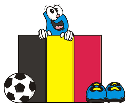 kick out: flag of the Belgium and a number of soccer ball and cleats