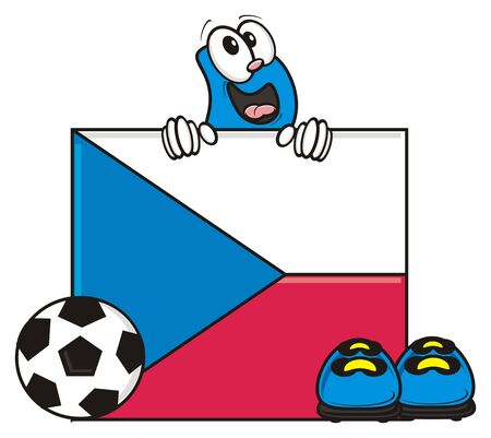 kick around: flag of the Czech Republic and a number of soccer ball and cleats Stock Photo
