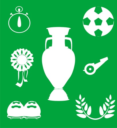 iron ribbon: many white solid football symbols on a green background Stock Photo