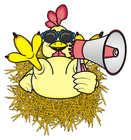 legs up: rooster sitting on hay in sunglasses and holding a megaphone and raised his legs up