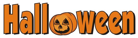 instead: Halloween sign with pumpkin instead of the letter O Stock Photo