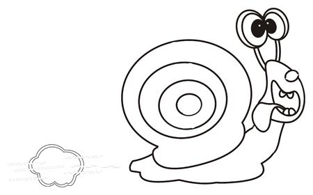slow food: coloring funny snail