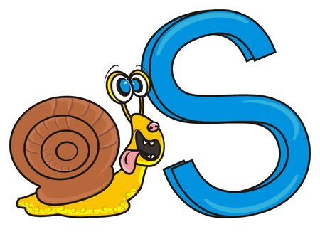 snail with a letter S Stock Photo
