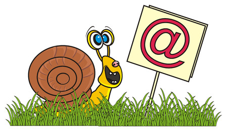snail found a plate with sign @