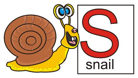 Snail near the card with the letter S and the word snail