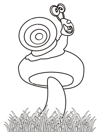 mucus: Coloring snail sitting on a mushroom Stock Photo