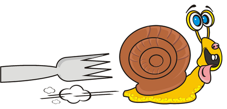 mucus: Snail is running away from the plug Stock Photo