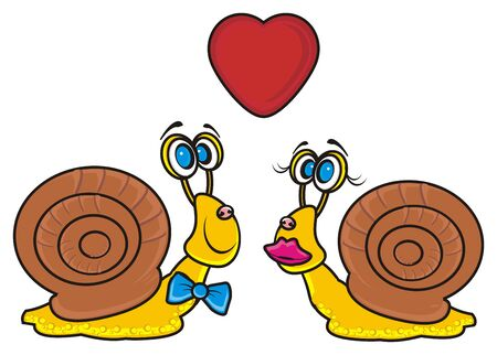 of them: two snails couple and red heart on them