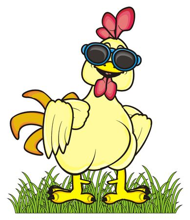 chicken coop: rooster in sunglasses standing on green grass