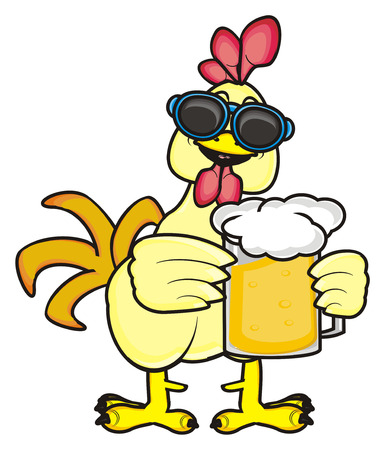 chicken coop: Rooster in sunglasses standing and holding a glass of beer