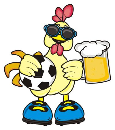 Rooster in sunglasses standing and holding a glass of beer and holding a ball