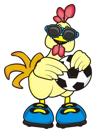 chicken coop: Rooster in sunglasses standing and holding a soccerball