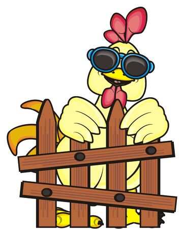 rooster in sunglasses standing behind a fence