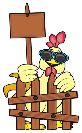 rooster in sunglasses standing behind a fence and holding a blanck plate