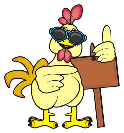 chicken coop: rooster in sunglasses standing and holding a blanck plate