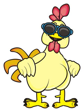 chicken coop: rooster in sunglasses standing Stock Photo