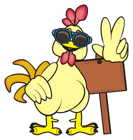 rooster in sunglasses holding an empty plate and showing gesture peace Stock Photo