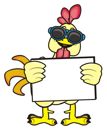 chicken coop: rooster in sunglasses holding an empty plate