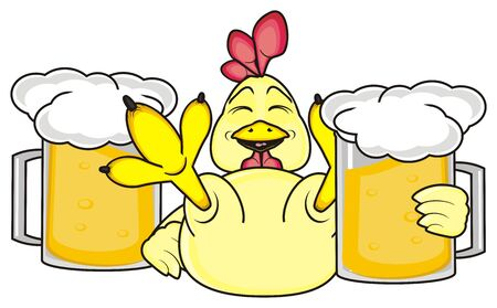 beers: rooster holding the mugs of beers Stock Photo