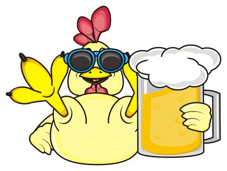chicken coop: rooster in sunglasses holding the mug of beer