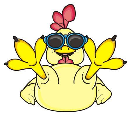 lying in: rooster in sunglasses lying