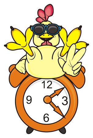 chicken coop: rooster in sunglasses shows the gesture of victory is on the alarm clock