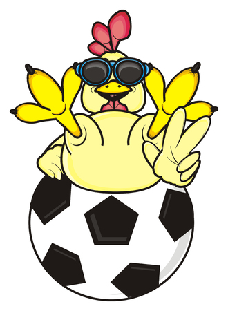rooster in sunglasses shows the gesture of victory is on the soccer ball Stock Photo