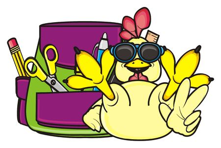 rooster in sunglasses sitting on a briefcase and showing gesture victory