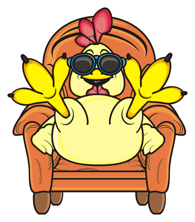 Rooster sitting in a chair