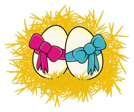 chicken coop: eggs in the hay with a pink and blue ribbon