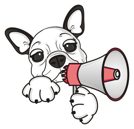 french bulldog puppy: french bulldog puppy holding a megaphone