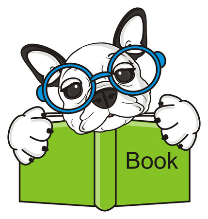 bulldog puppy: french bulldog puppy with glasses holding a book