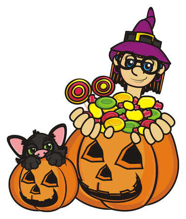 october 31: witch and black cat sits in pumpnik and witch hold a candy
