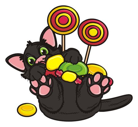 31: black cat lyinh on his back and hold a candy Stock Photo